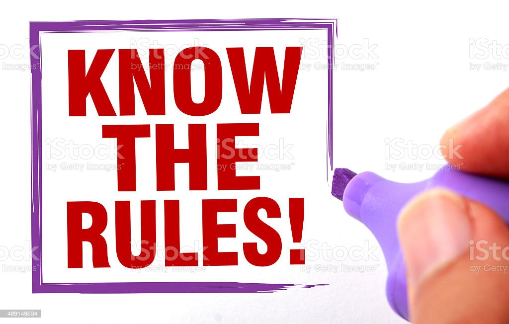 Sign with the words Know The Rules in red stock photo