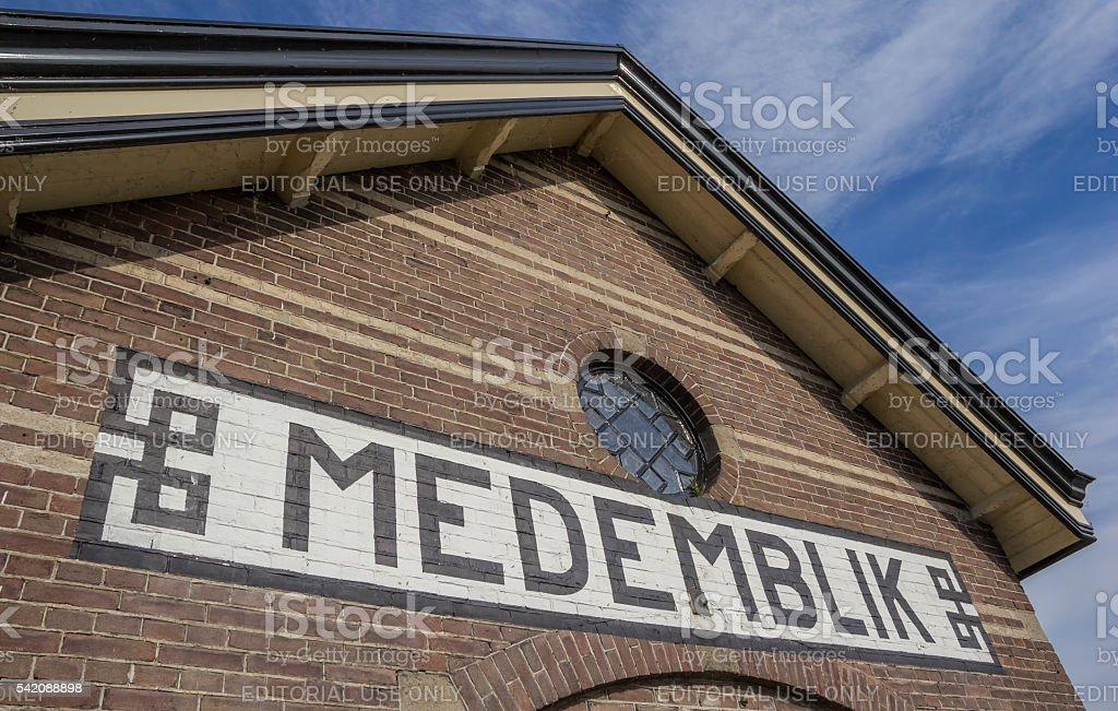 Sign with town name on the railway station of Medemblik stock photo