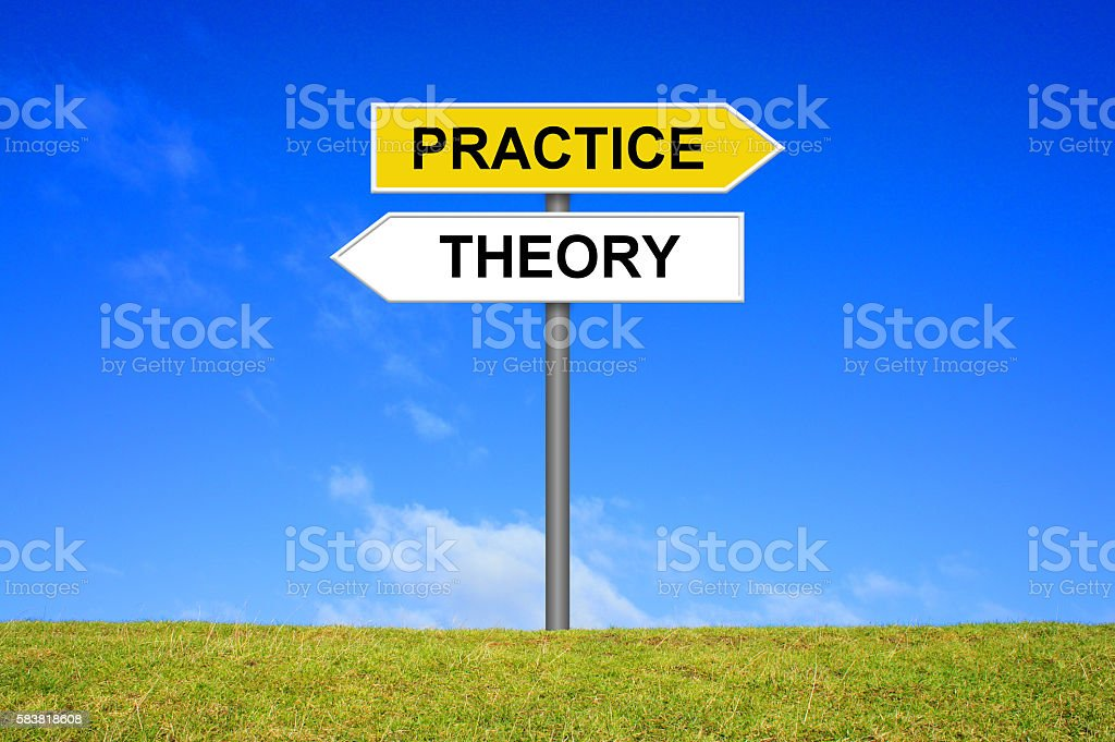 Sign with two arrows shows Theory and Practice stock photo