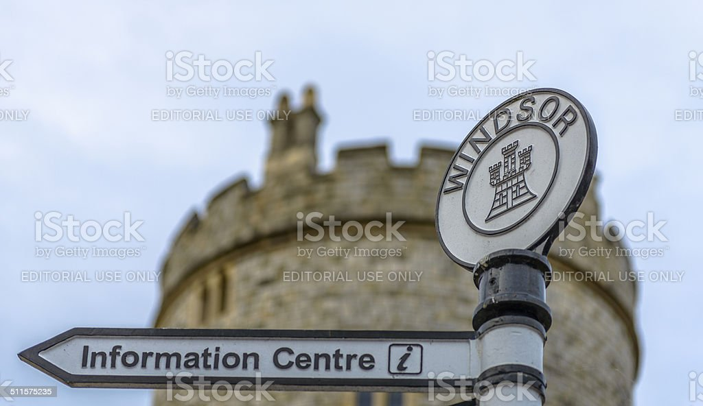 Sign with Windsor Castle in the background. stock photo