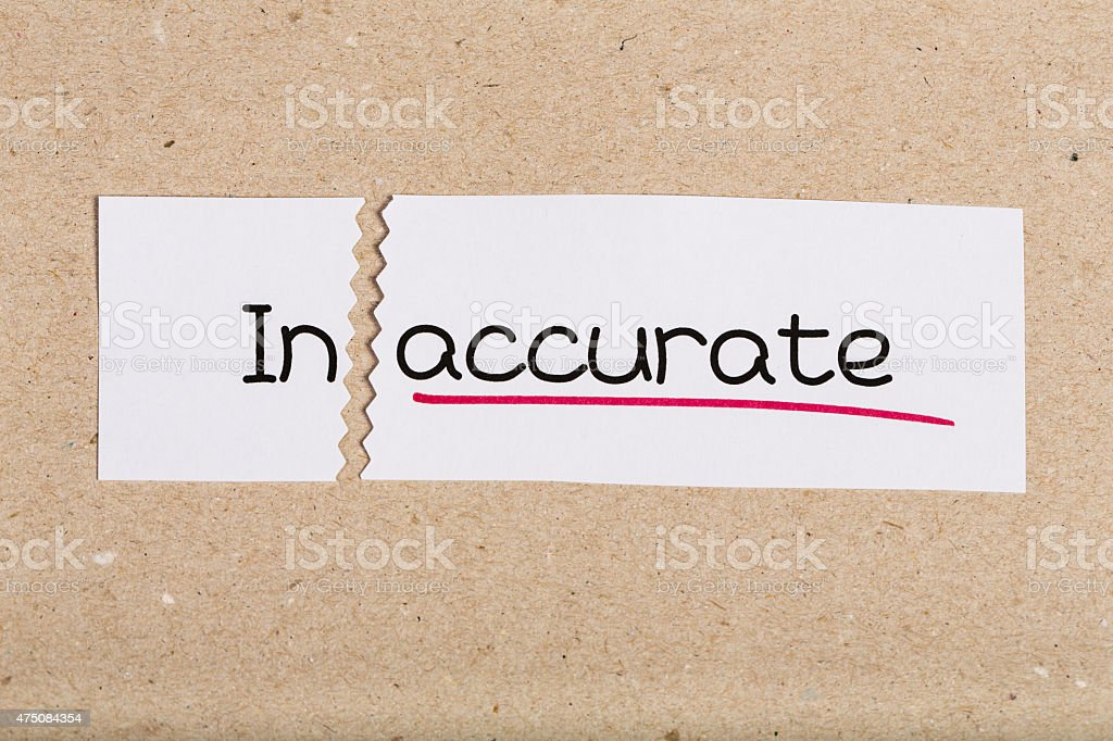 Sign with word inaccurate turned into accurate stock photo