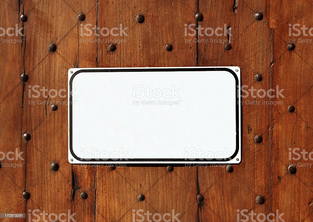 sign, wood and rivets royalty-free stock photo