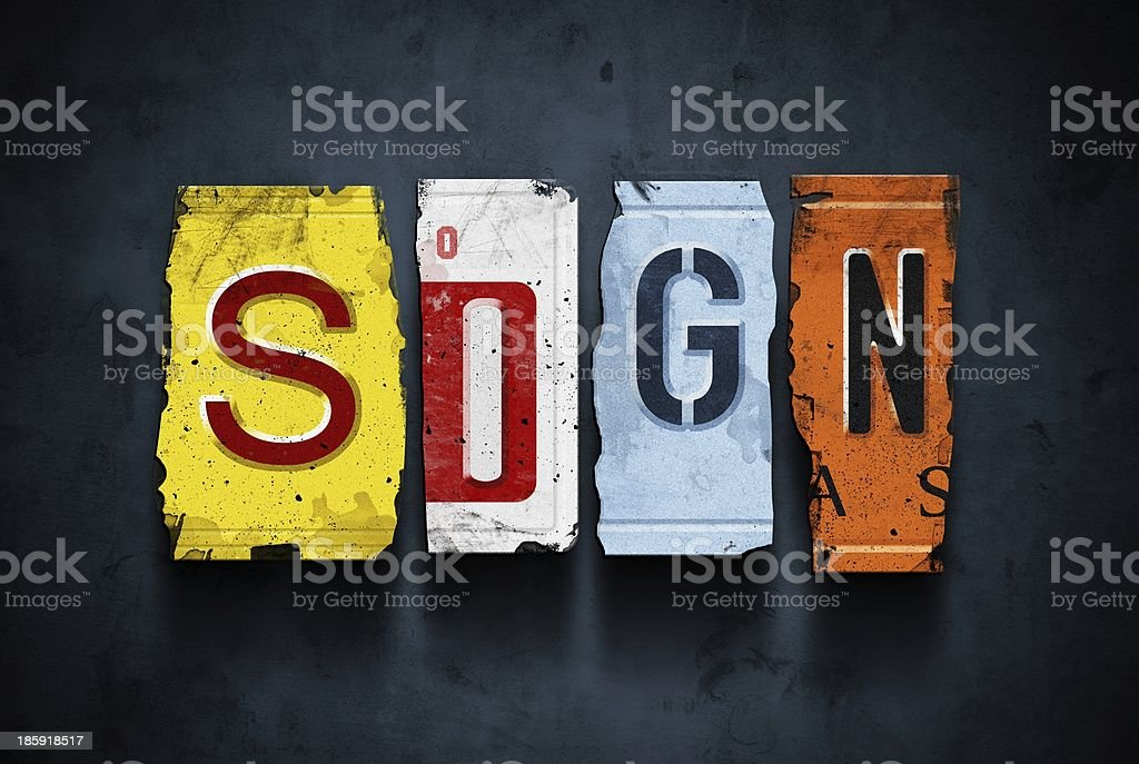 Sign word on vintage car license plates, concept royalty-free stock photo