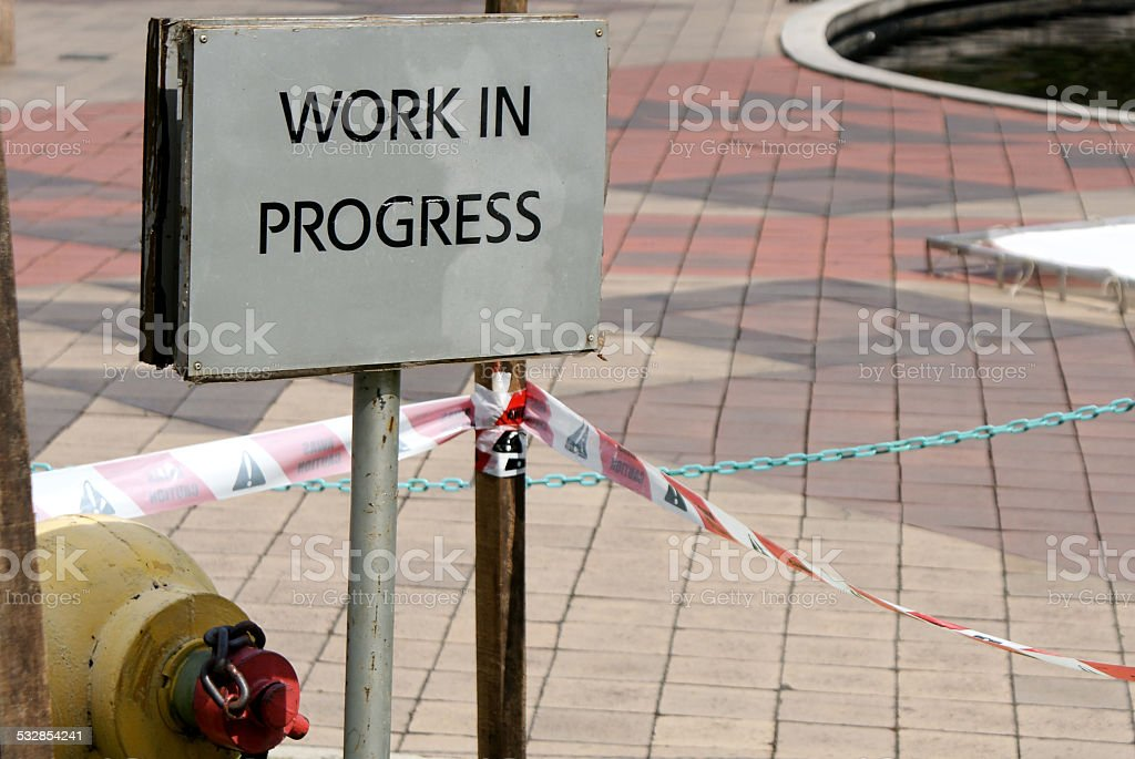 sign 'work in progress' stock photo