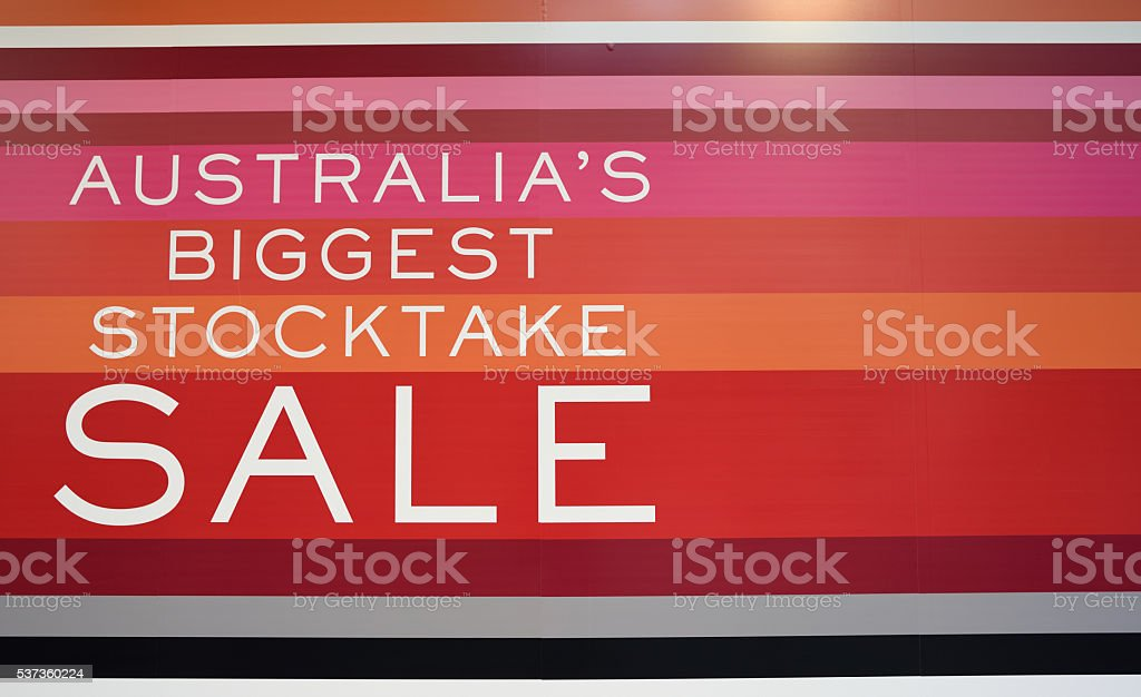 Signage Australia's biggest stocktake sale stock photo