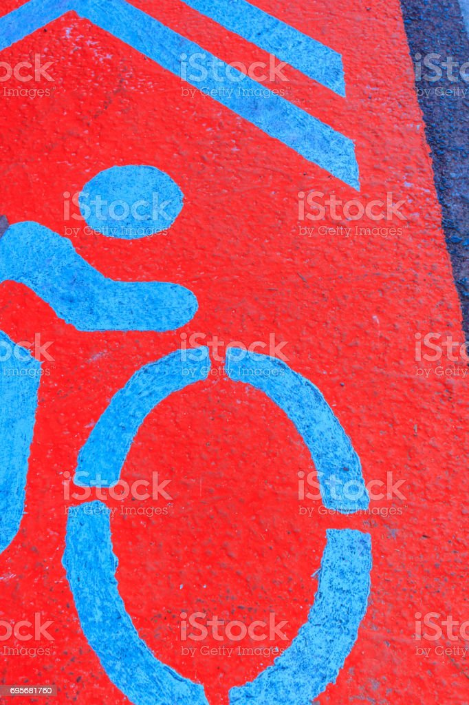 signage bike on the road stock photo