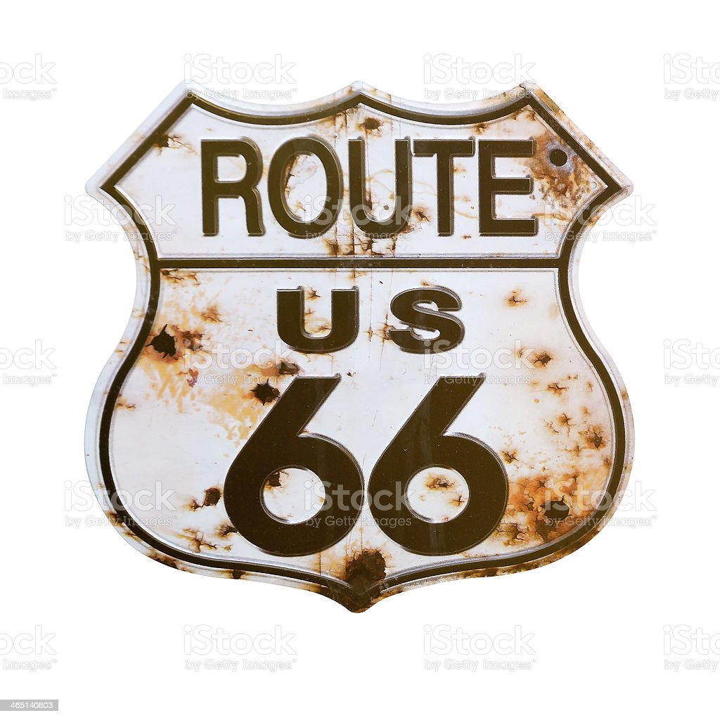 A signage of Route US 66 with rusty effect  stock photo