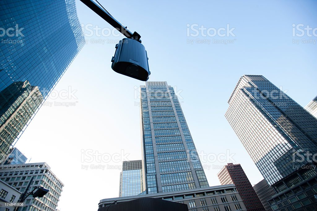 Signal and skyscraper in Tokyo. royalty-free stock photo