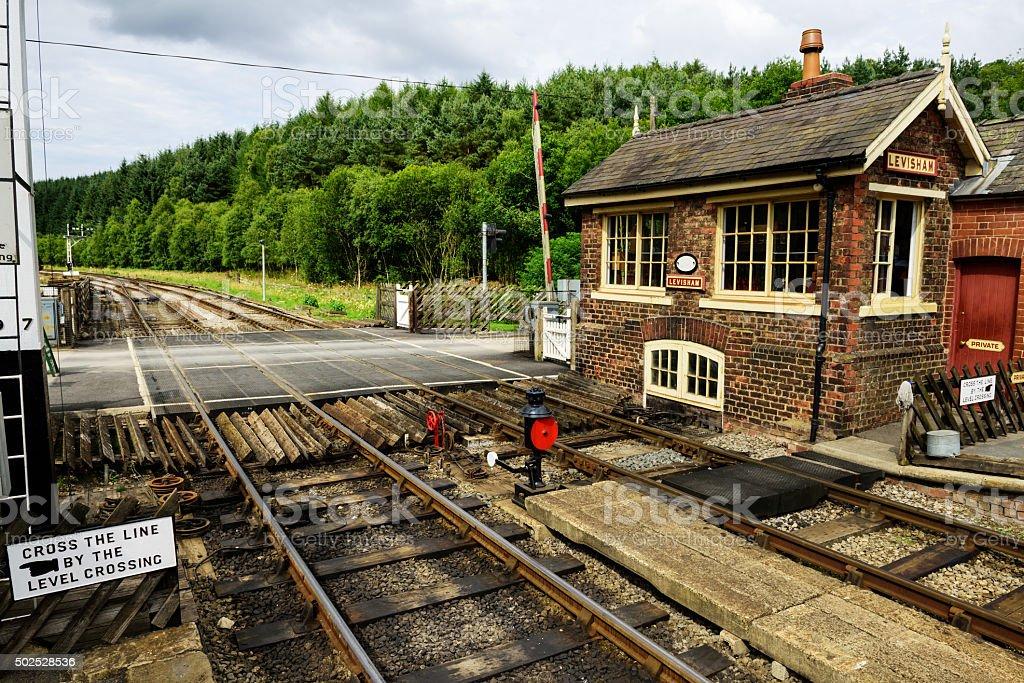 Signal box and railway crossing at Levisham stock photo