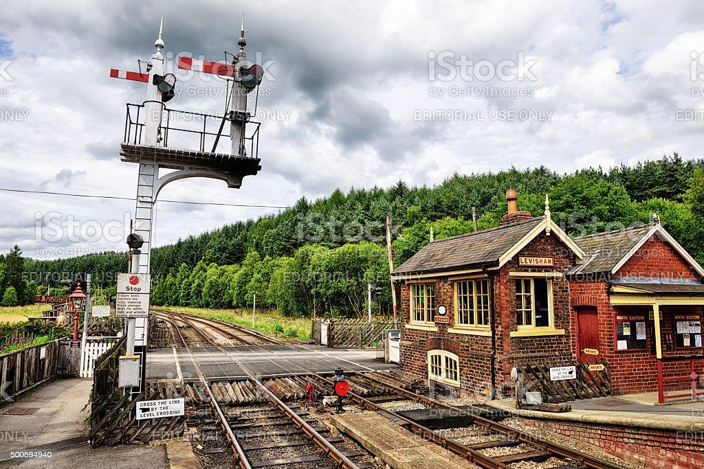 Signal box and signals, Levisham Railway Station stock photo