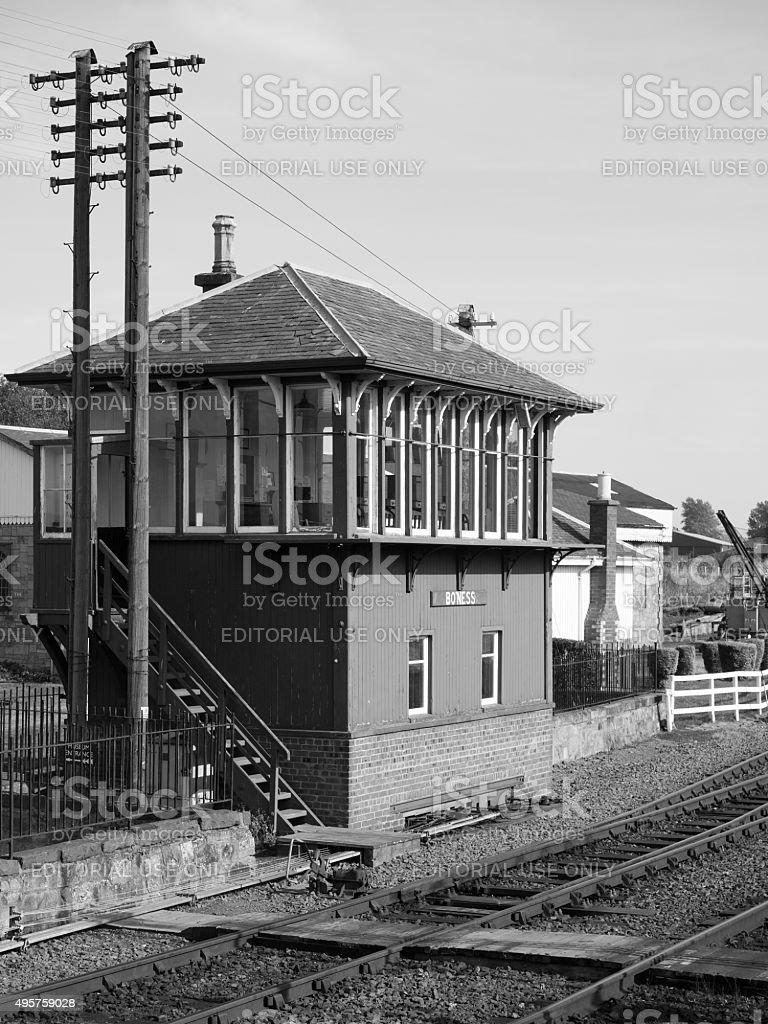 Signal box at Bo'ness historical railway. stock photo