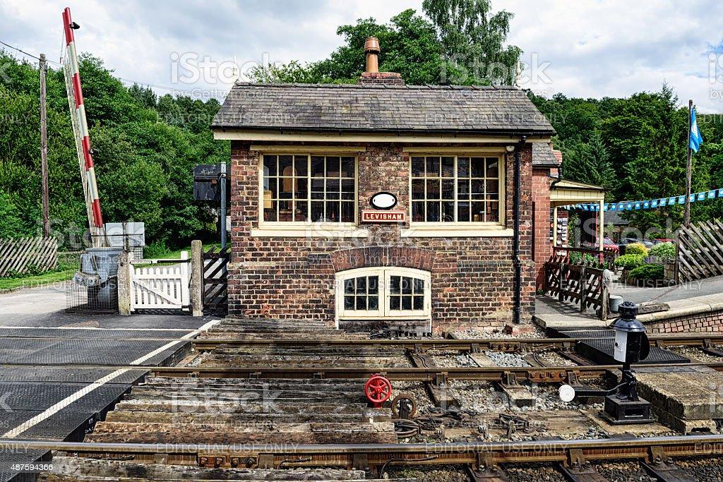 Signal box at Levisham Railway Station stock photo
