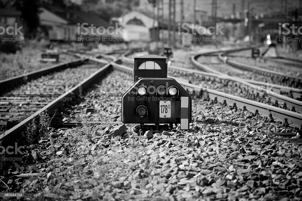 Signal box, selective focus, railroad tracks stock photo