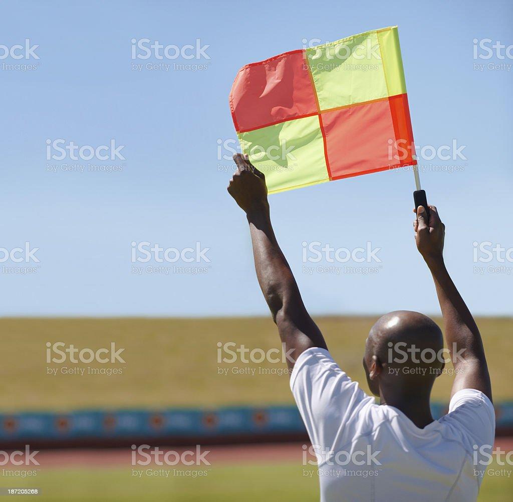 Signaling a foul stock photo