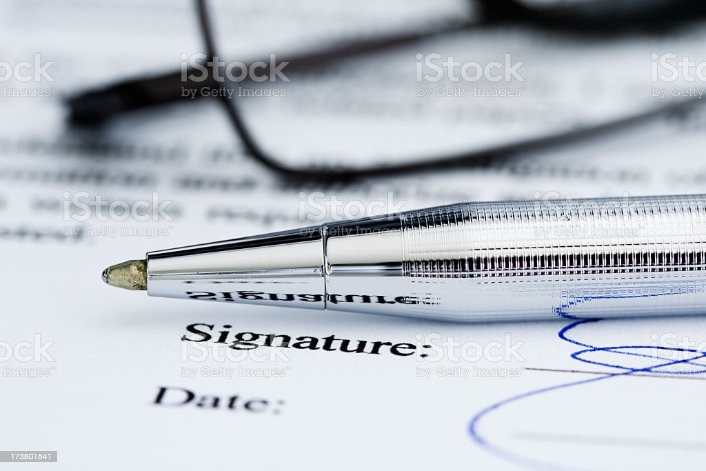 Signature on document. royalty-free stock photo