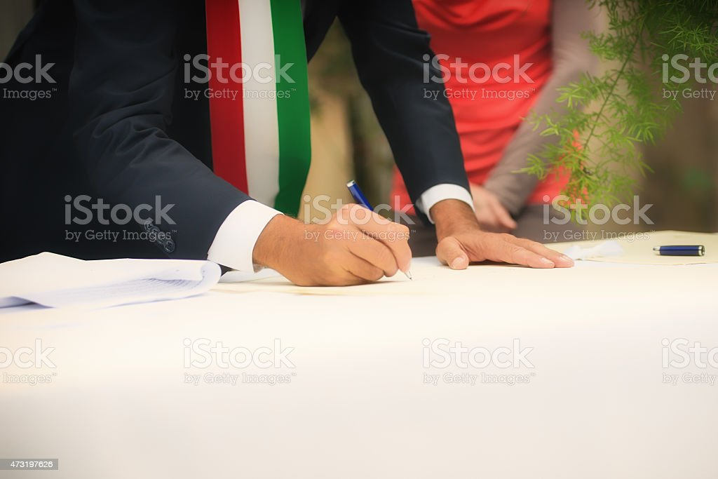 signatures during a wedding ceremony stock photo