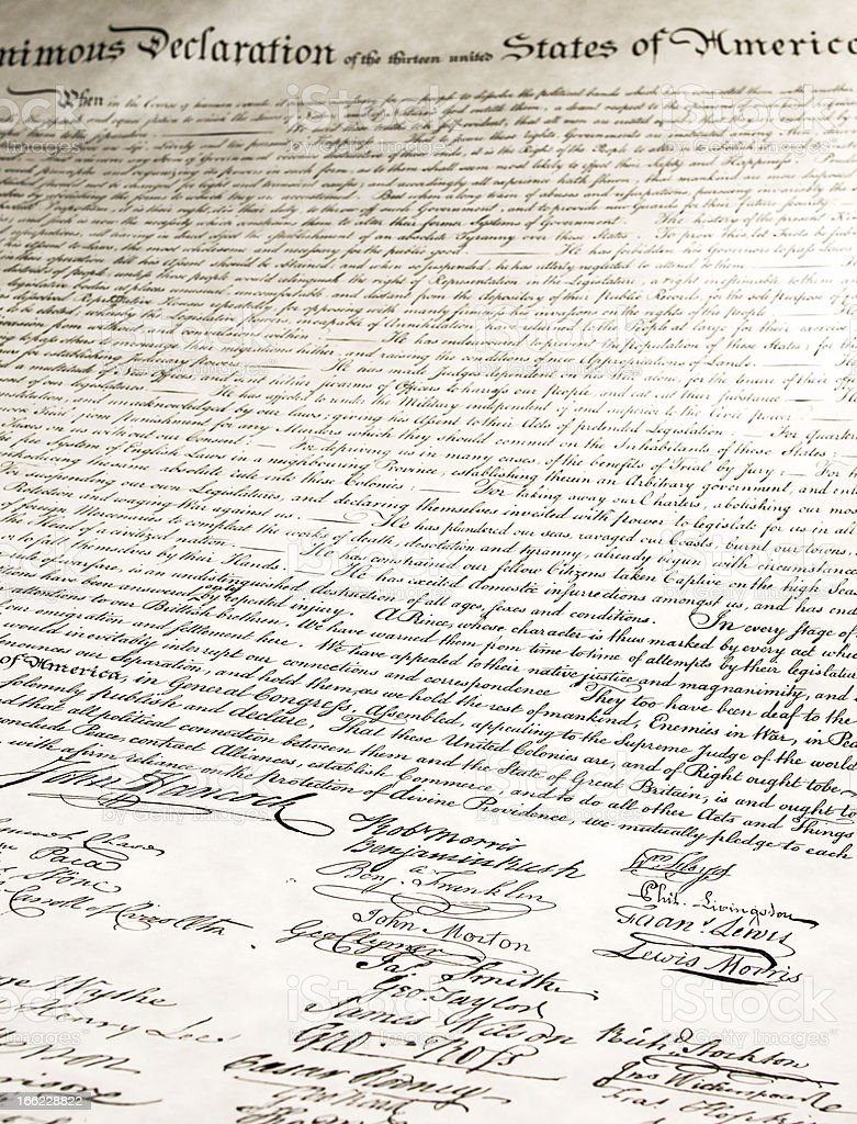 Signatures on Declaration of Independence stock photo