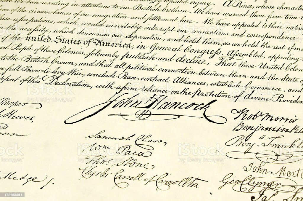 Signatures on Declaration of Independence royalty-free stock photo