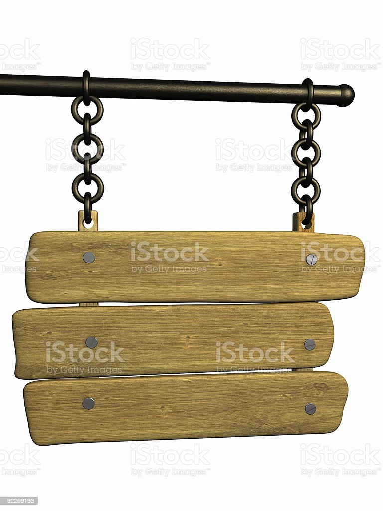 Signboard from an old boards, hanging on circuits royalty-free stock photo