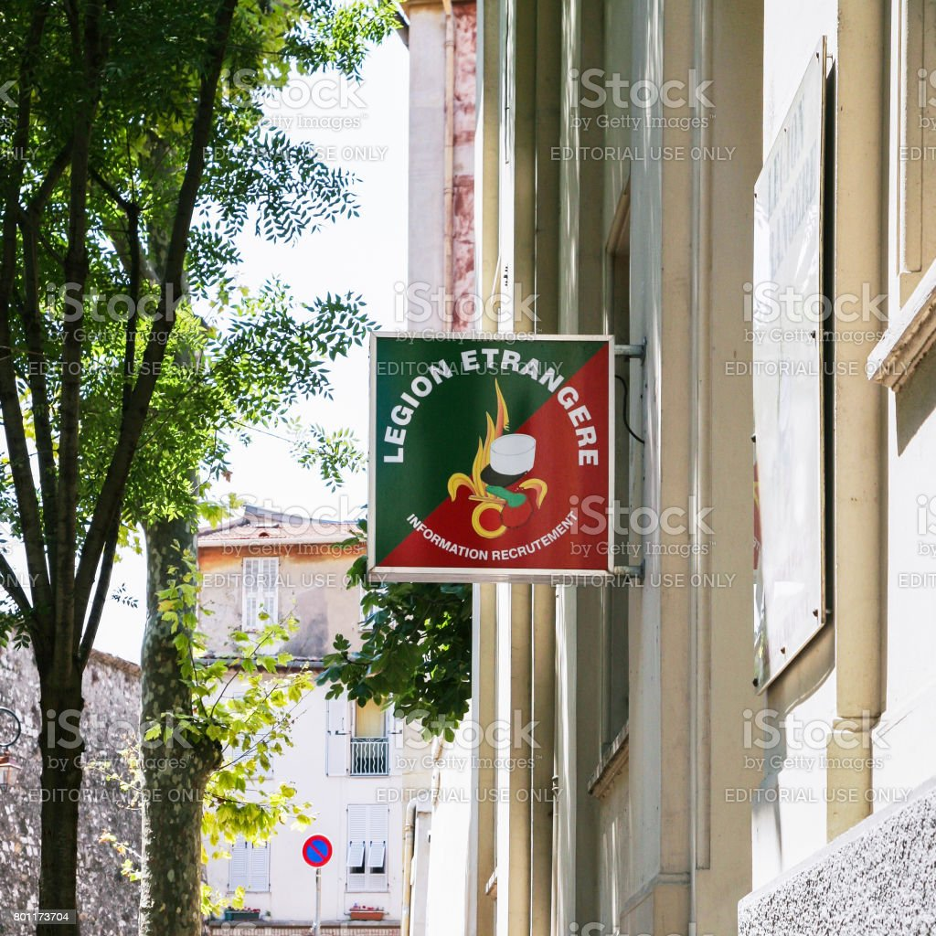 signboard of French Foreign Legion in Nice stock photo