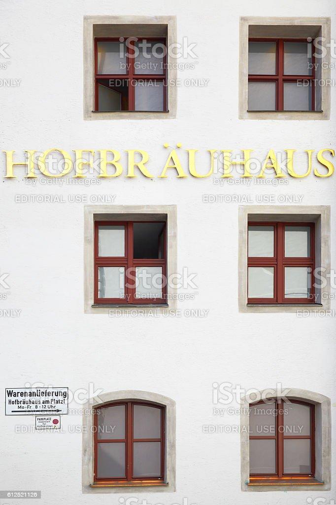 Signboard of Hofbraeuhaus stock photo
