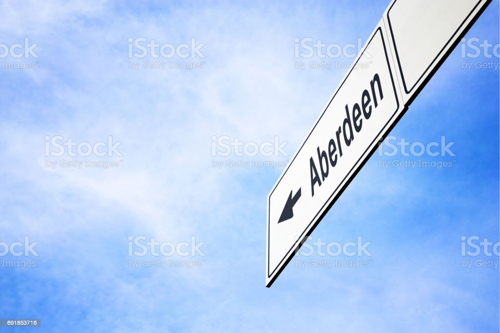 Signboard pointing towards Aberdeen stock photo