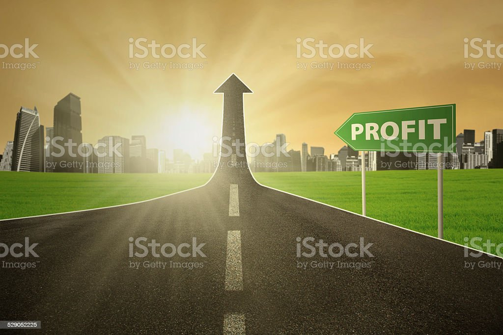 Signboard with a profit text stock photo
