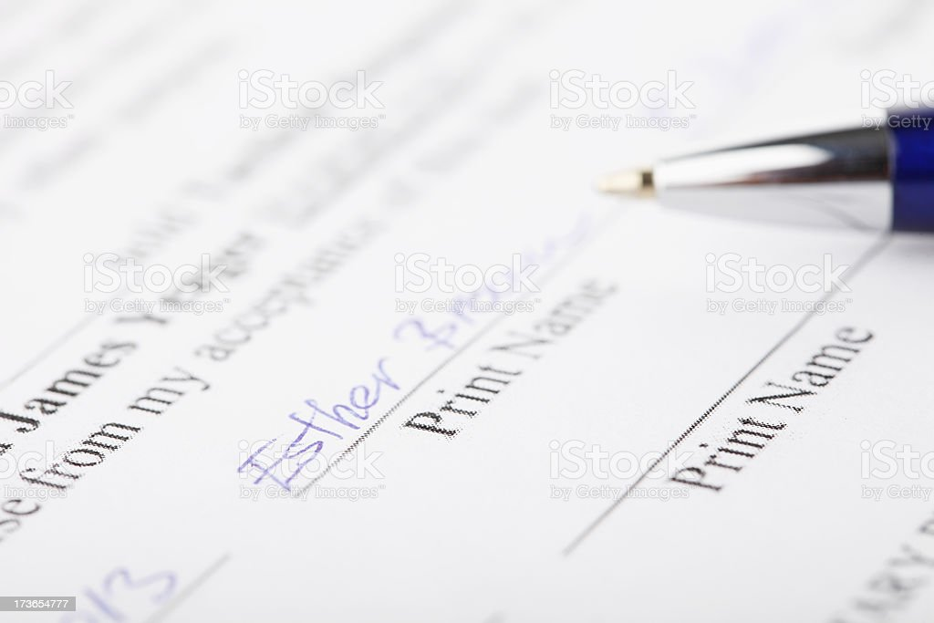 Signed contract agreement with pen stock photo