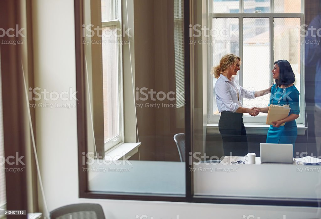 Signed off on her promotion stock photo