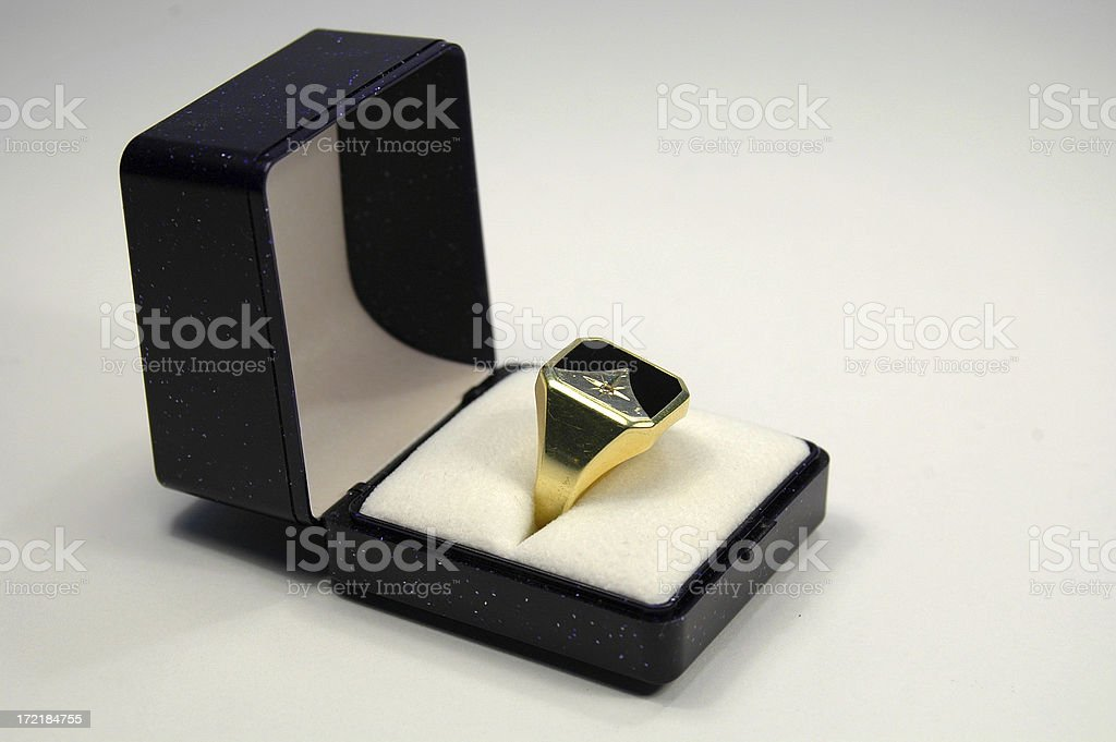 Signet ring in a box white isolated royalty-free stock photo