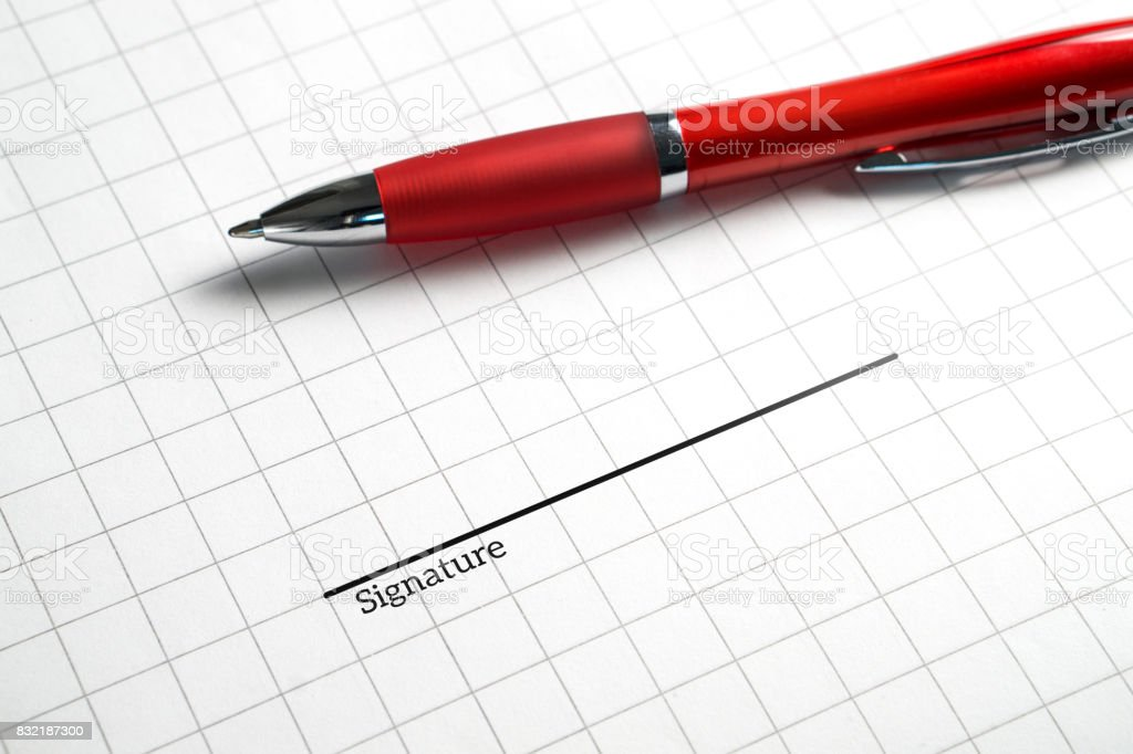 Signing a business contract, legal agreement or rental for apartment. Get hired and employed for new job and work. Offer for collaboration or deal. Pen and signature line on paper. stock photo