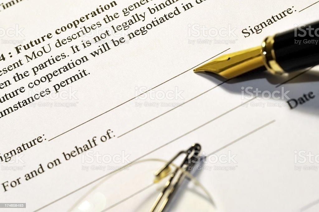 Signing a memorandum royalty-free stock photo