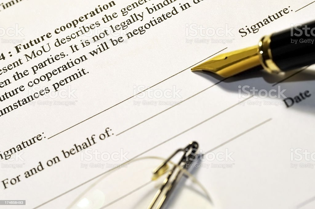 Signing a memorandum stock photo