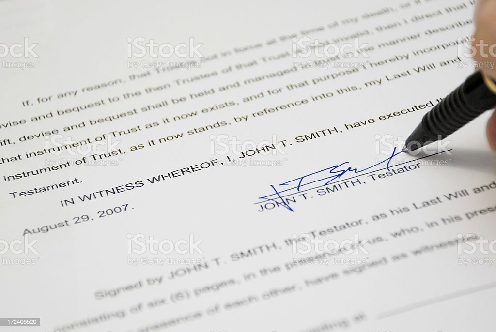 Signing a Will royalty-free stock photo
