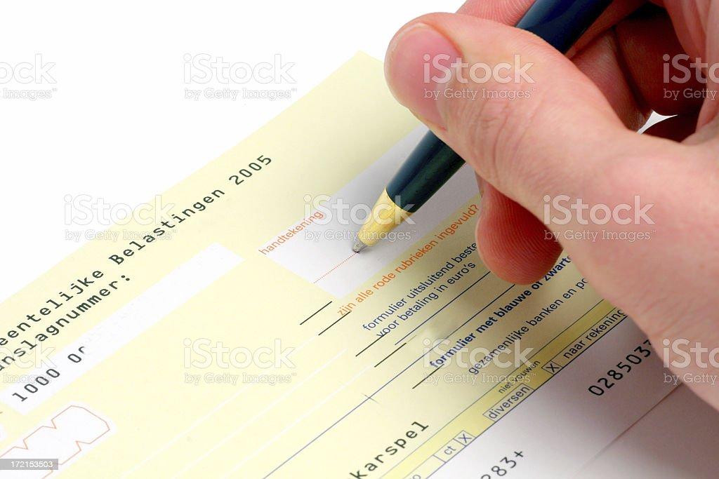 Signing bill stock photo
