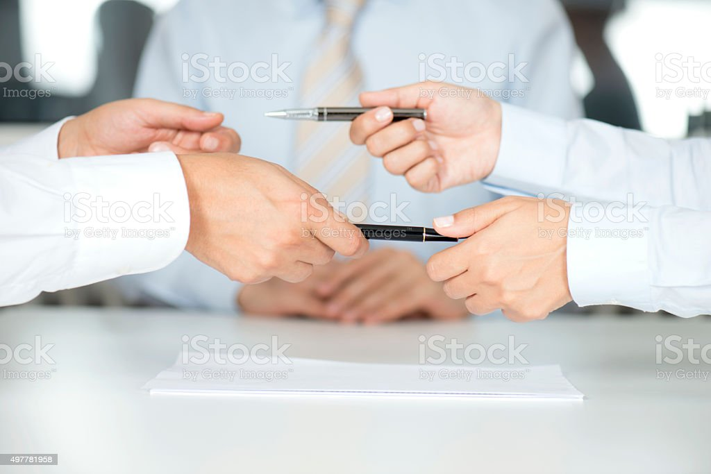 Signing Contract Paper stock photo