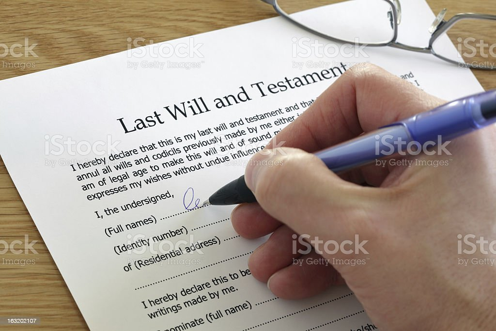 Signing Last Will and Testament royalty-free stock photo