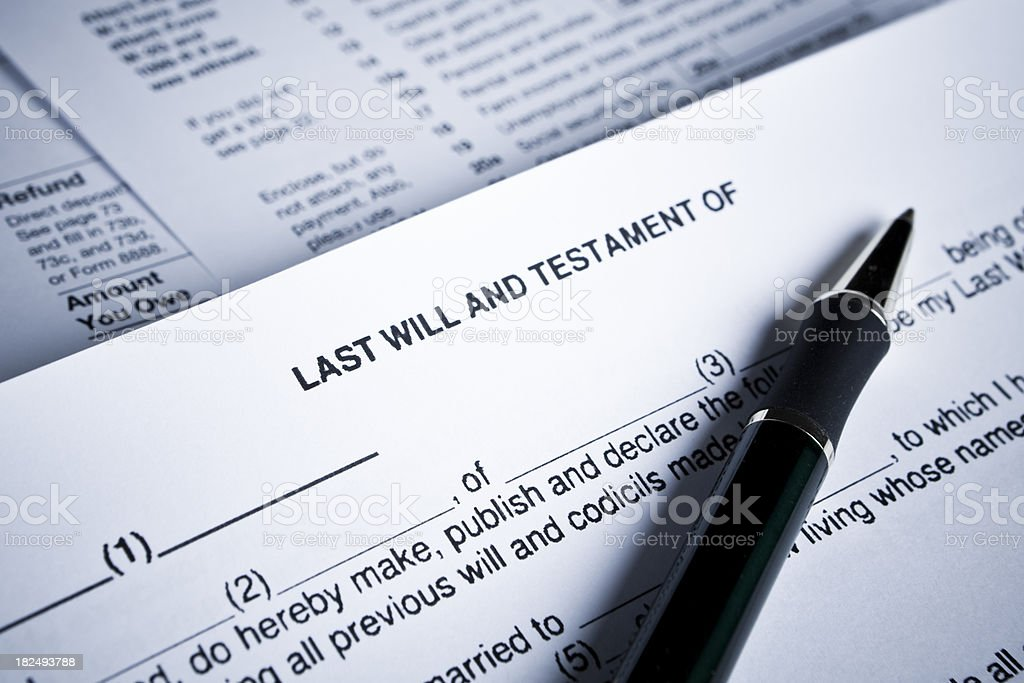 Signing Last Will & Testament stock photo