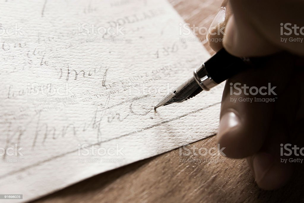 Signing of a contract stock photo