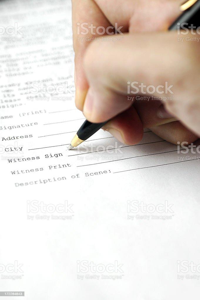 Signing stock photo