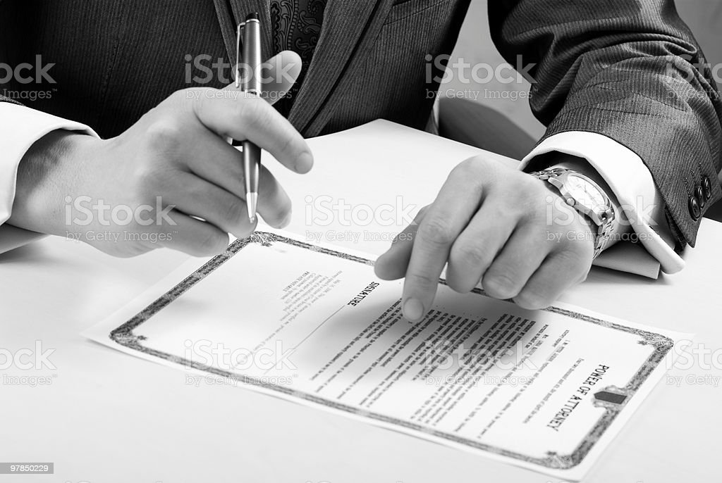Signing stock photo