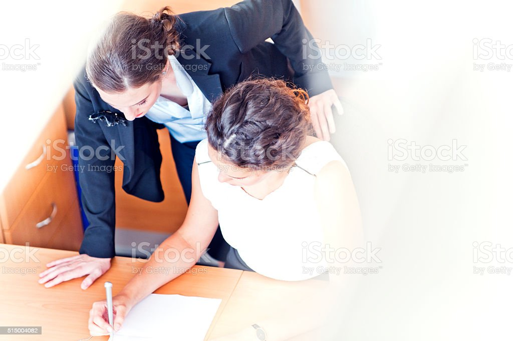 Signing the Contract stock photo