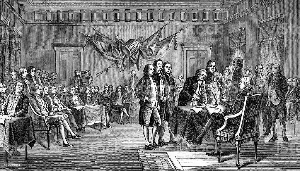 Signing the Declaration of Independence in Philadelphia stock photo