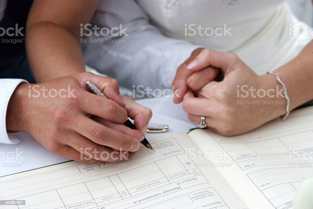 signing the register stock photo