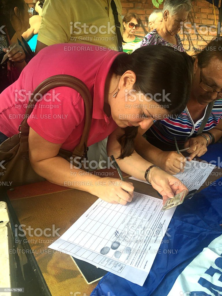 Signing to Ask for Revoking Venezuelan President stock photo