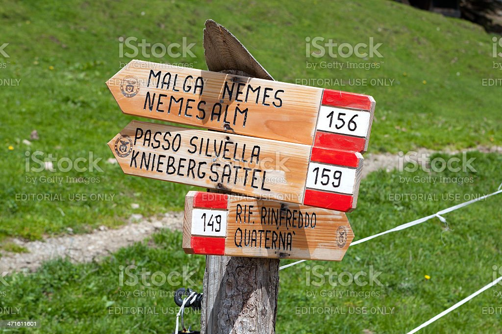 Signpost. Alto Adige, Dolomites royalty-free stock photo