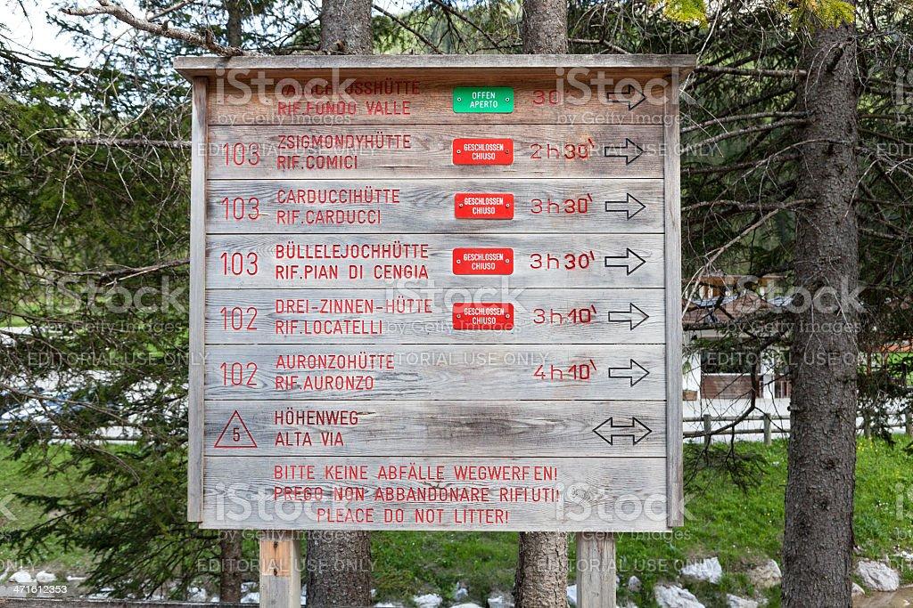 Signpost, Alto Adige, European Alps royalty-free stock photo