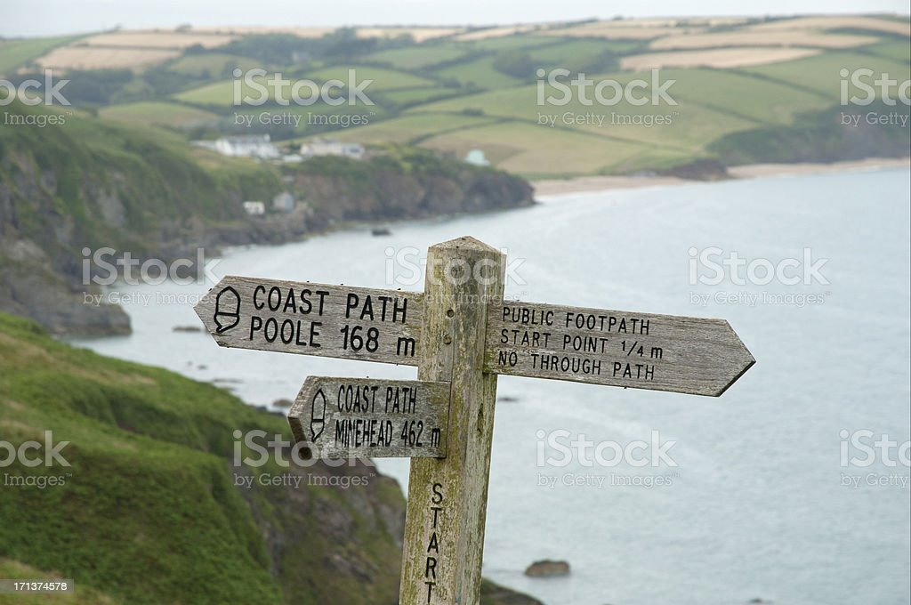 signpost at coastpath stock photo