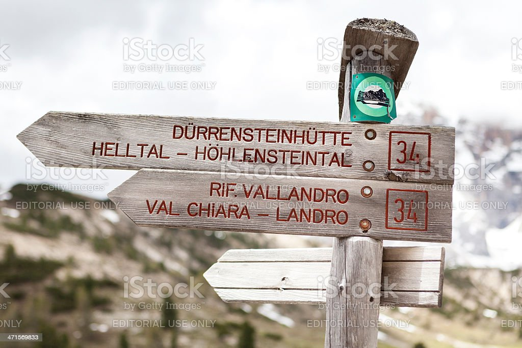 Signpost at Prato Piazza, Plaetzwiese. Alto Adige, Dolomites stock photo