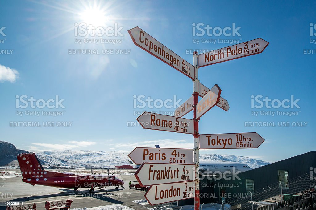 Signpost at the airport of Kangerlussuaq in Western Greenland stock photo